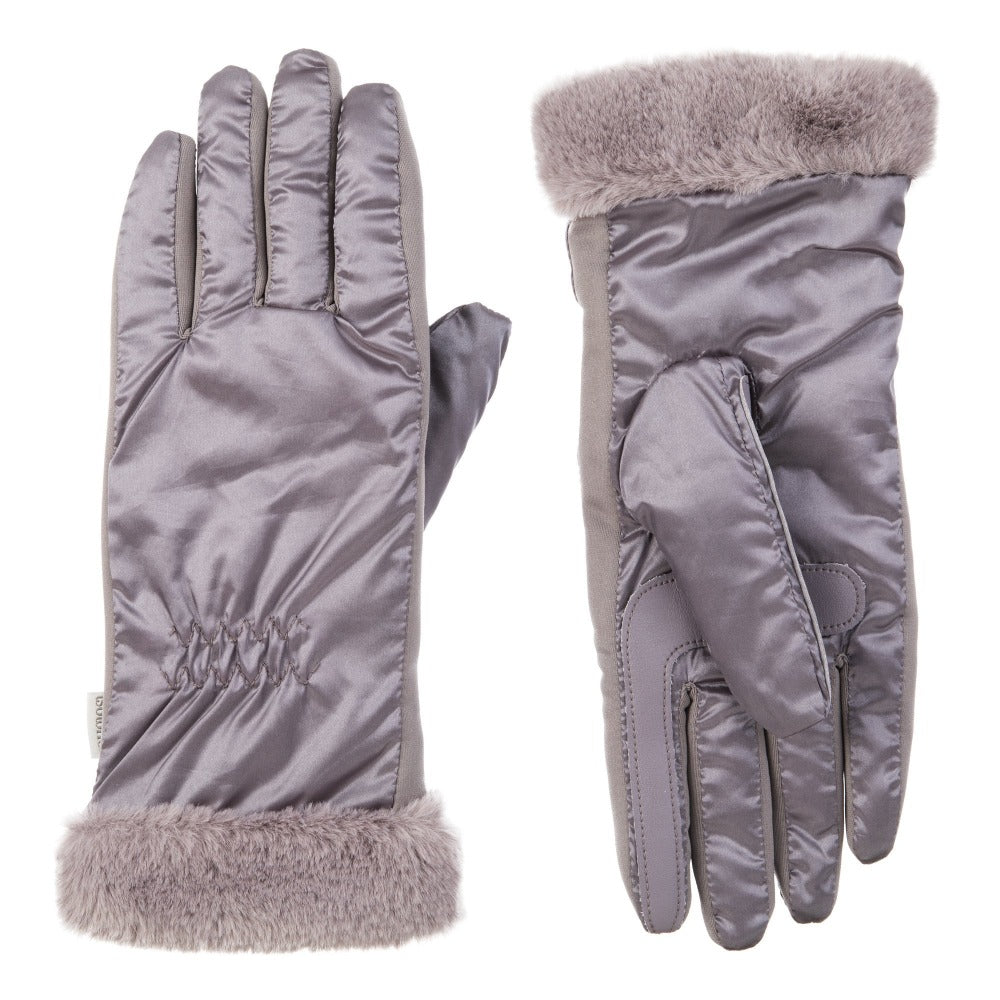 Women's Quilted Gloves with Faux Fur Cuff in Dusty Lavender Front and Back