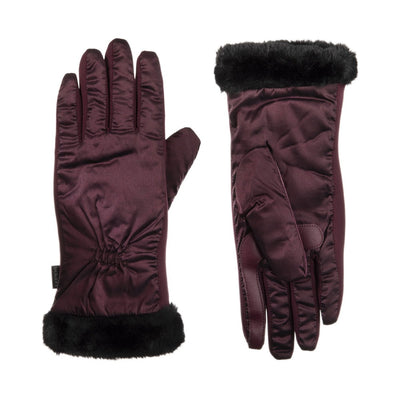 Women's Quilted Gloves with Faux Fur Cuff in Plum Front and Back