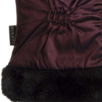 Women's Quilted Gloves with Faux Fur Cuff in Plum Cuff Detail
