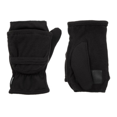 Women's Fleece Stretch Flip-Top Mittens in Black Front and Back