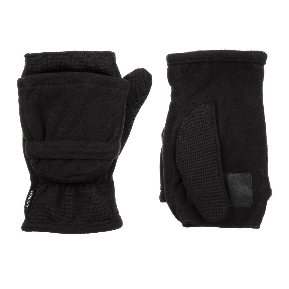 womens tech fleece stretch flip top mitten in black