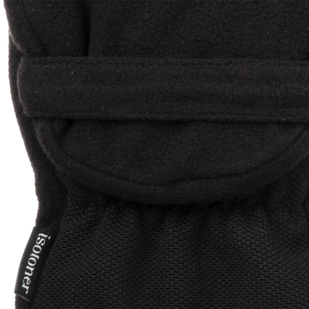 Women's Fleece Stretch Flip-Top Mittens in Black Close Up of Cuff