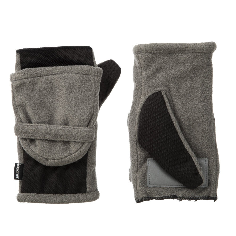 Women's Fleece Stretch Flip-Top Mittens in Heather (Grey) Front and Back