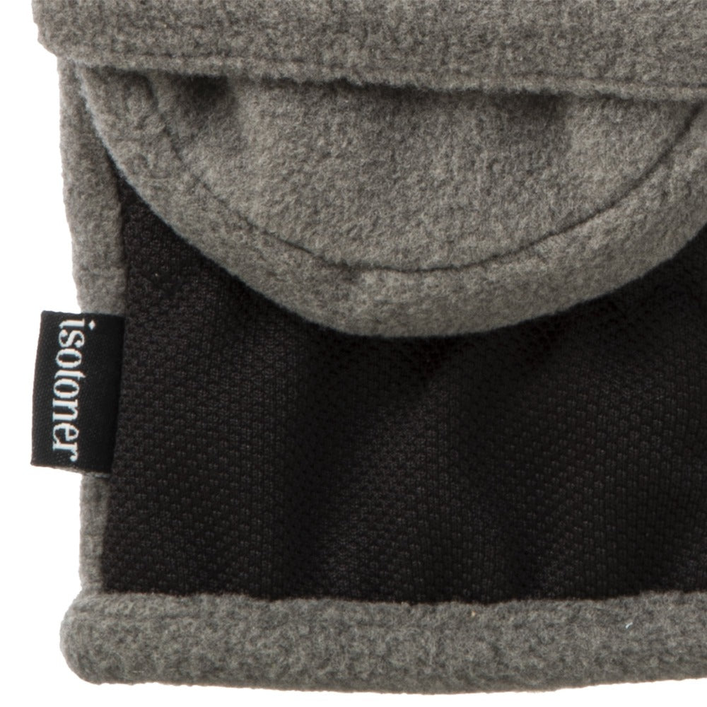 Women's Fleece Stretch Flip-Top Mittens in Heather (Grey) Close Up of Cuff
