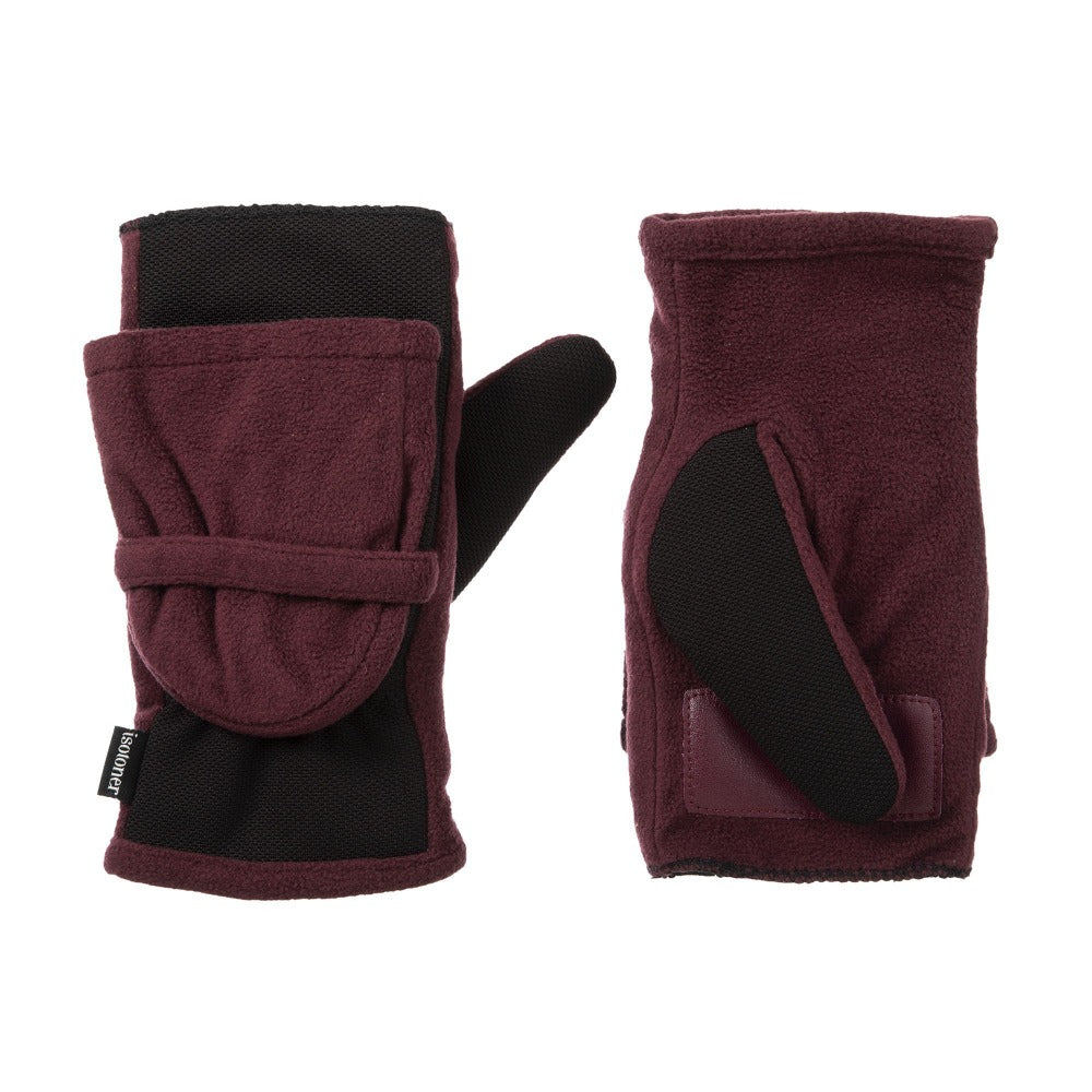 Women's Fleece Stretch Flip-Top Mittens in Plum Front and Back