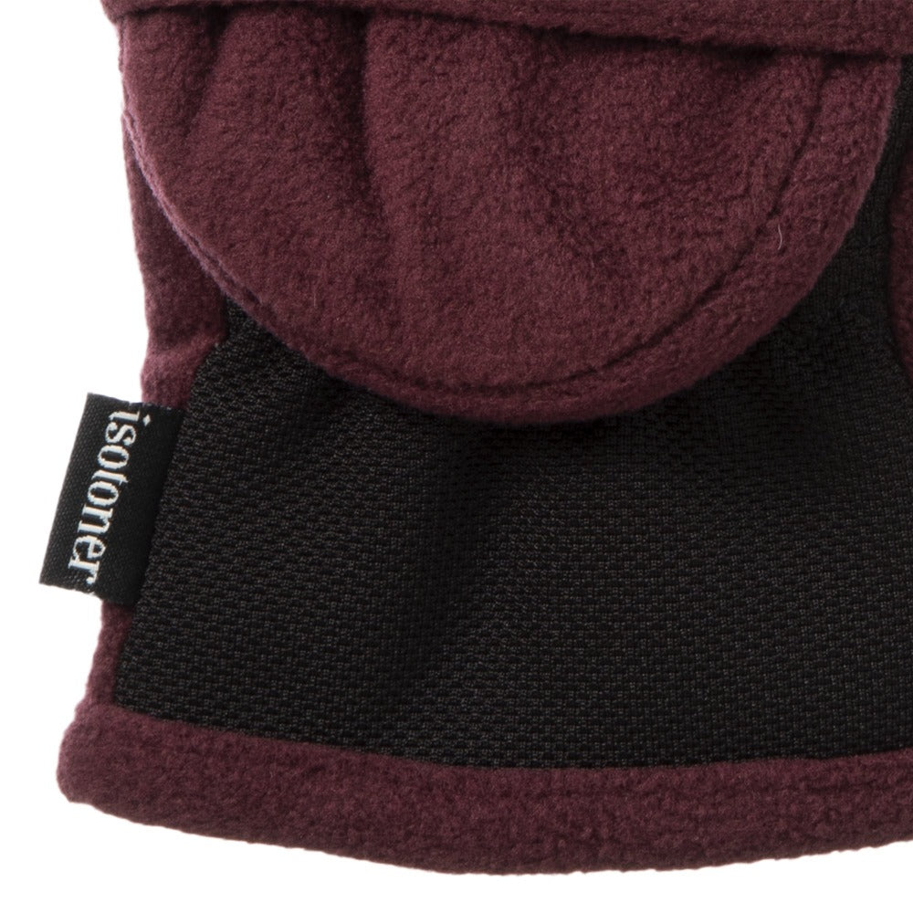 Women's Fleece Stretch Flip-Top Mittens in Plum Close Up of Cuff