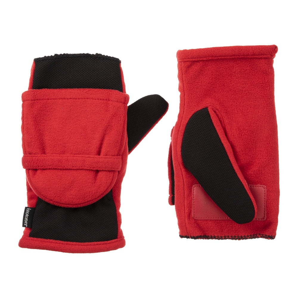 Women's Fleece Stretch Flip-Top Mittens in Really Red Front and Back