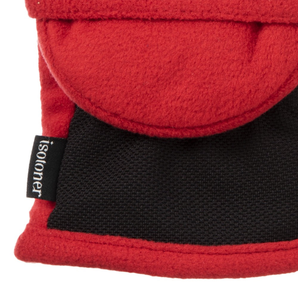 Women's Fleece Stretch Flip-Top Mittens in Really Red Close Up of Cuff