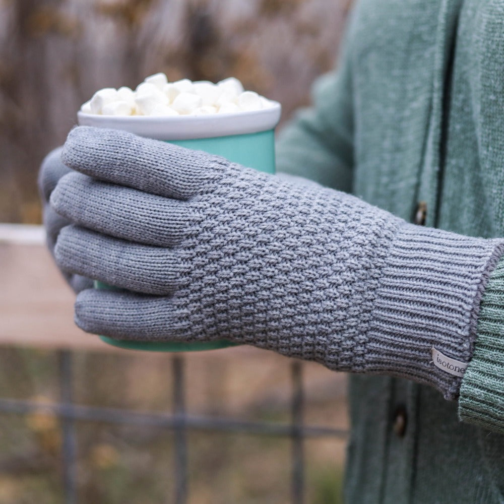 Women's Textured Knit Gloves in Heather (Grey) on Model