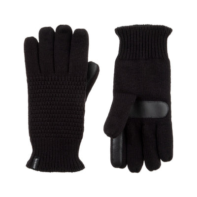 Women's Textured Knit Gloves in Black Front and Back