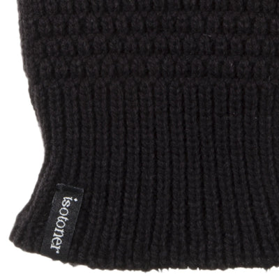 Women's Textured Knit Gloves in Black Cuff Detail