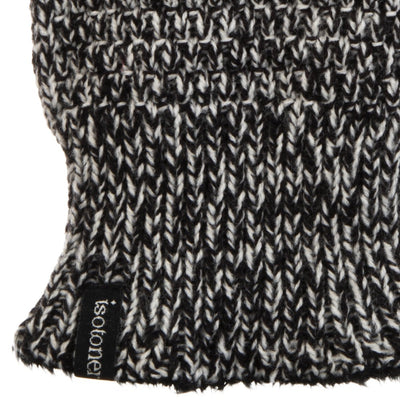 Women's Isotoner Textured Knit Gloves in Black Stripe close up on wrist
