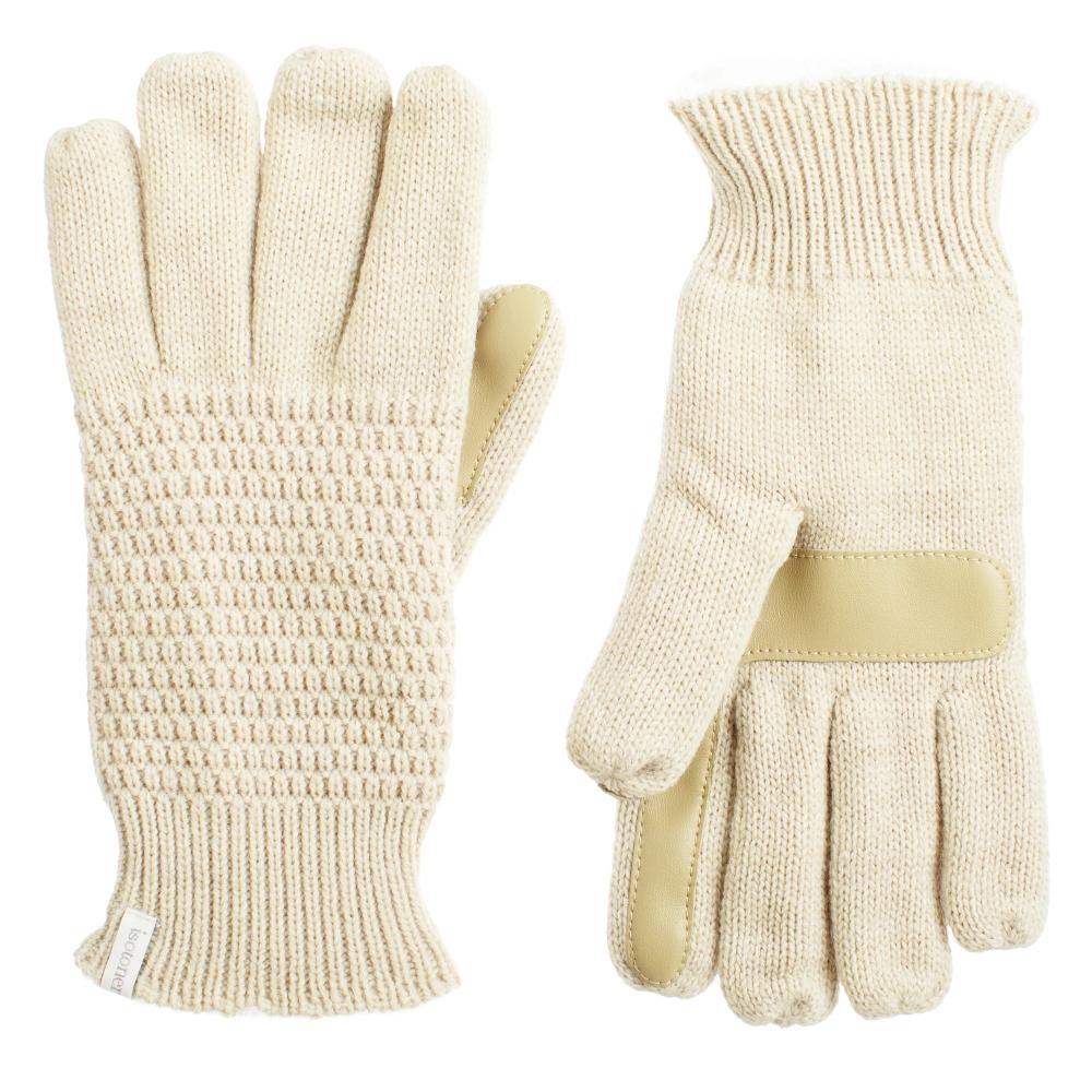 Women's Textured Knit Gloves in Camel Beige Front and Back