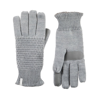 Women's Textured Knit Gloves in Heather (Grey) Front and Back