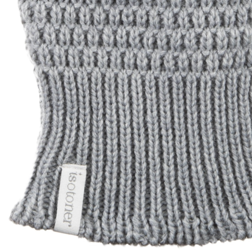 Women's Textured Knit Gloves in Heather (Grey) Cuff Detail
