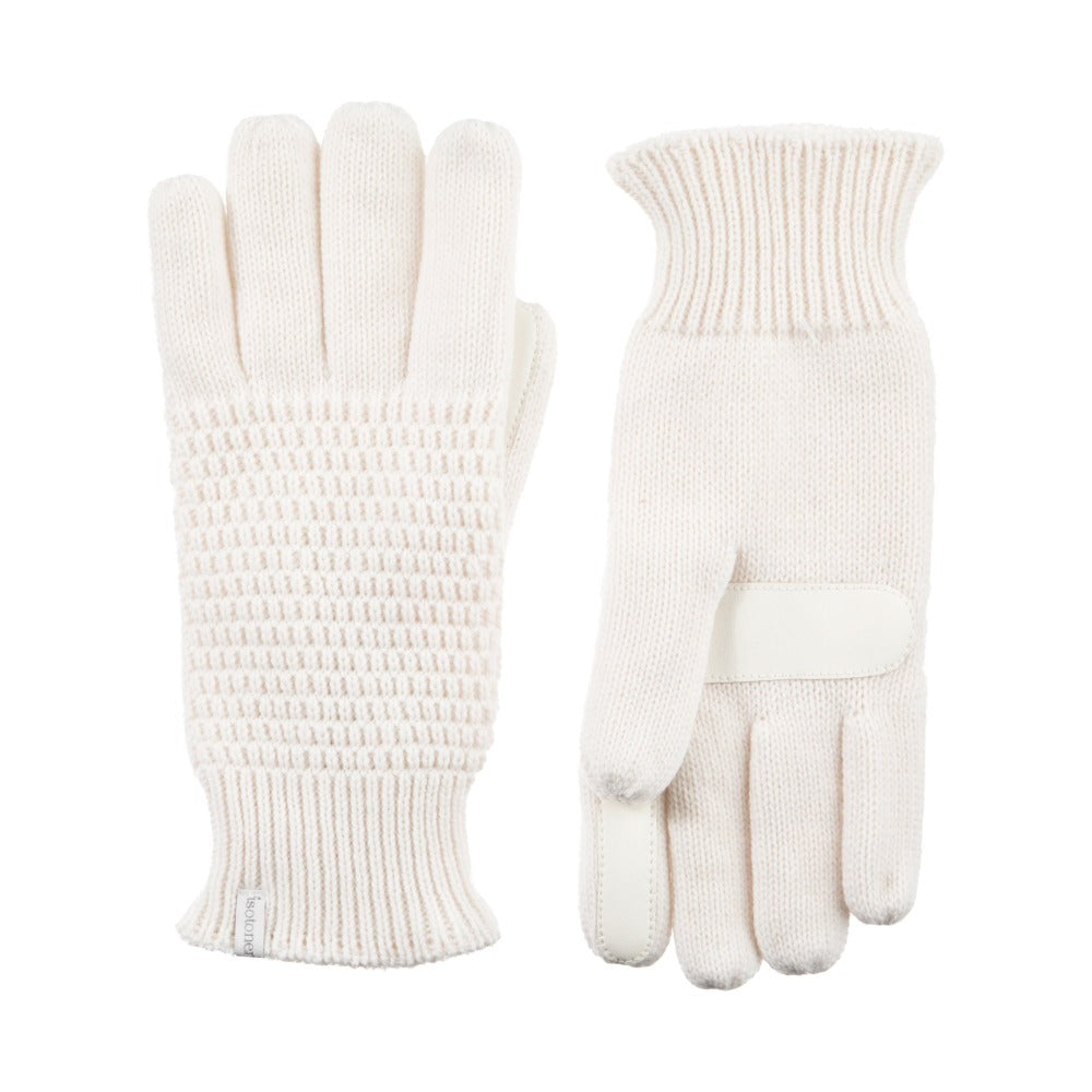 Women's Textured Knit Gloves in Ivory Front and Back