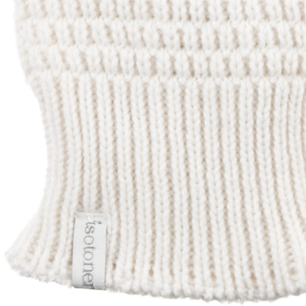 Women's Textured Knit Gloves in Ivory Cuff Detail