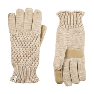 Women's Textured Knit Gloves in Oatmeal Heathered Front and Back