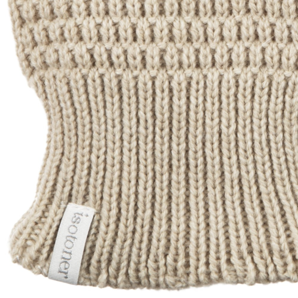 Women's Textured Knit Gloves in Oatmeal Heathered Cuff Detail