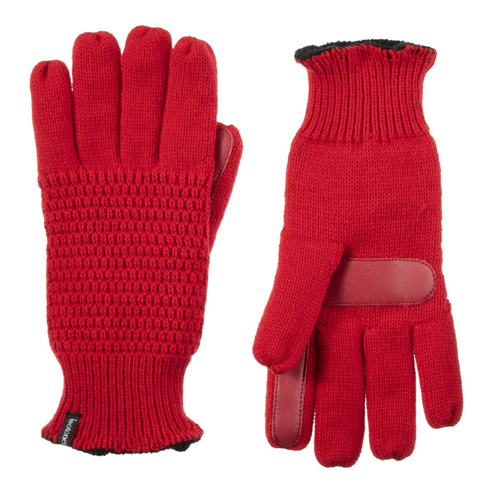 Women's Textured Knit Gloves in Really Red Front and Back