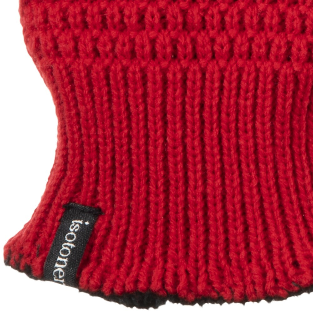 Women's Textured Knit Gloves in Really Red Cuff Detail