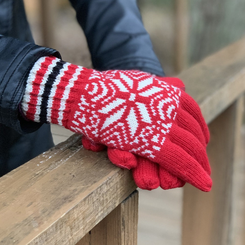 Women's Acrylic Knit Snowflake Gloves in Really Red on Model