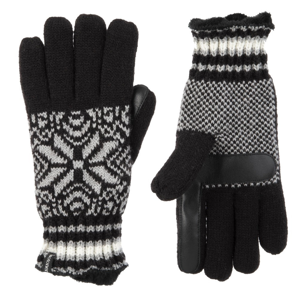 Women's Acrylic Snowflake Gloves in Black and Grey Front and Back