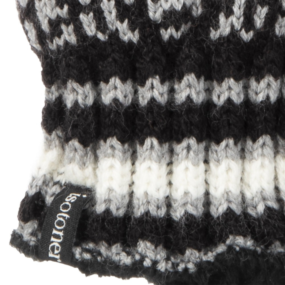 Women's Acrylic Snowflake Gloves in Black and Grey Cuff Detail