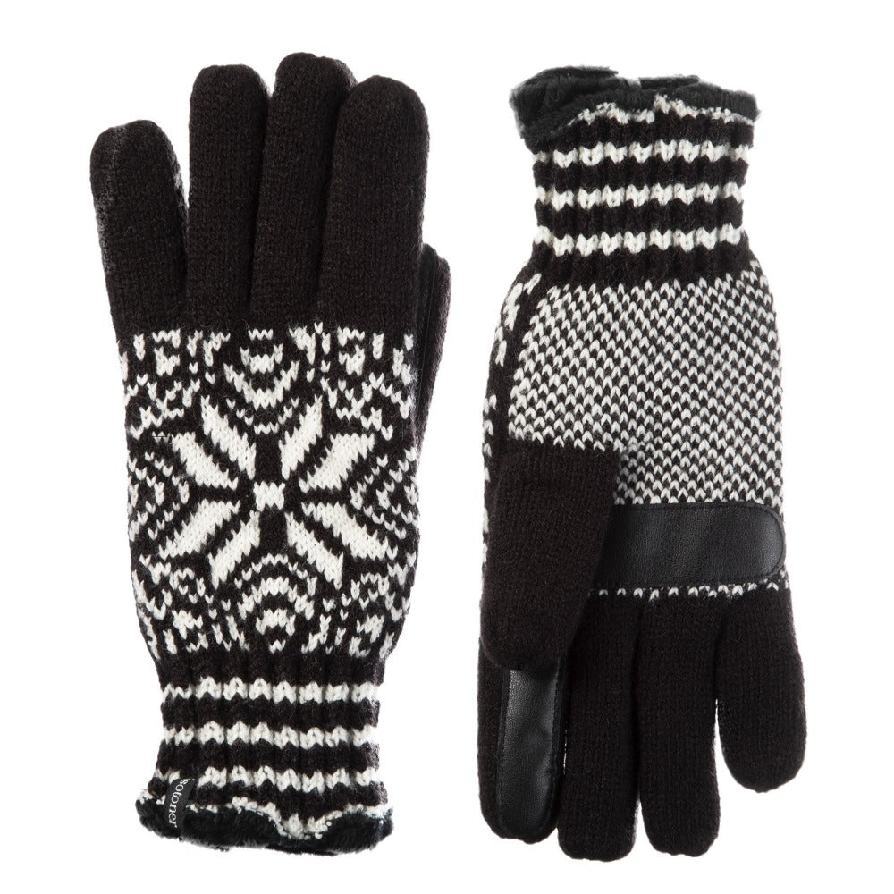 Women's Acrylic Knit Snowflake Gloves in Black Front and Back