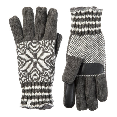 Women's Acrylic Snowflake Gloves in Dark Charcoal Heather (Grey) Front and Back