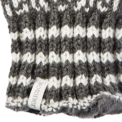 Women's Acrylic Snowflake Gloves in Dark Charcoal Heather (Grey) Cuff Detail