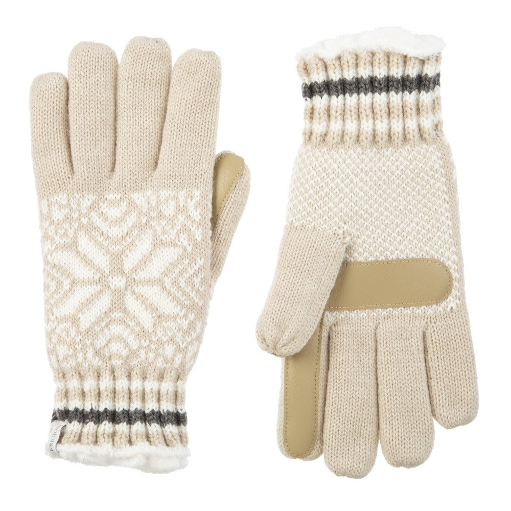 Women's Acrylic Knit Snowflake Gloves in Oatmeal Heathered Front and Back