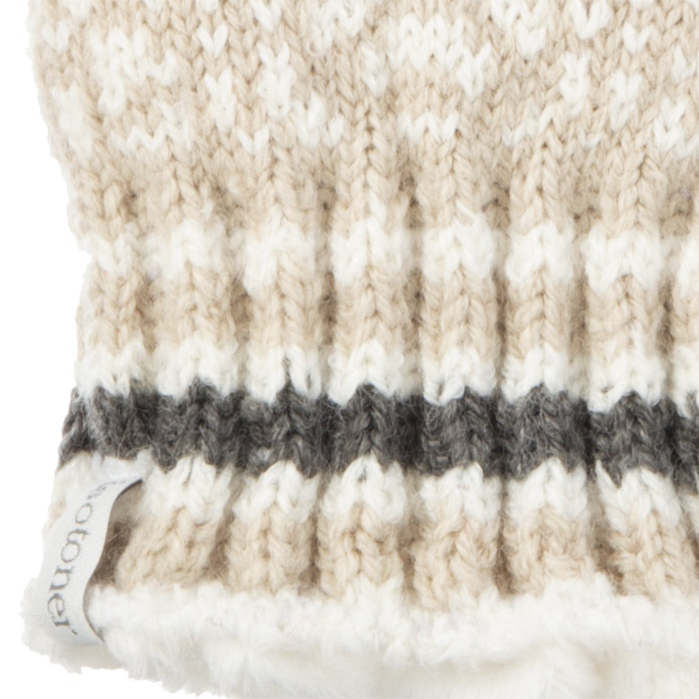 Women's Acrylic Knit Snowflake Gloves in Oatmeal Heathered Cuff Details