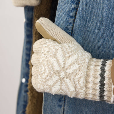 Women's Acrylic Knit Snowflake Gloves in Oatmeal Heathered on Model