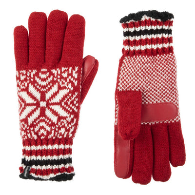 Women's Acrylic Knit Snowflake Gloves in Really Red Front and Back