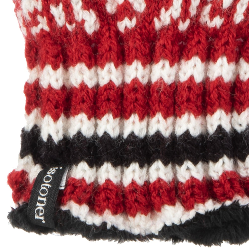 Women's Acrylic Knit Snowflake Gloves in Really Red Cuff Details