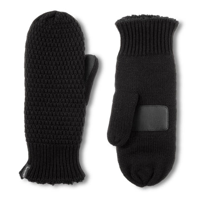 Women's Marled Knit Touchscreen Mittens in Black Front and Back View