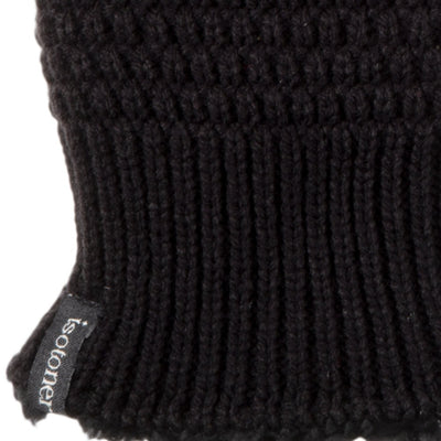 Women's Marled Knit Touchscreen Mittens in Black Cuff Detail