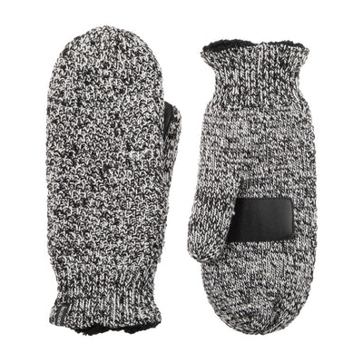Women's Marled Knit Touchscreen Mittens Black Stripe(Black and White) Front and Back View