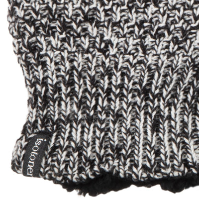 Women's Marled Knit Touchscreen Mittens Black Stripe(Black and White) Cuff Detail