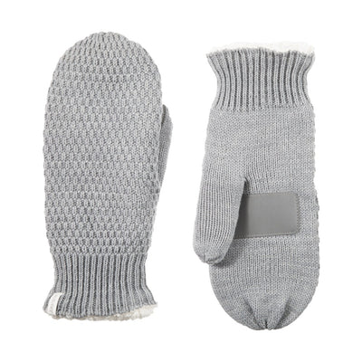 Women's Marled Knit Touchscreen Mittens Heather (Grey) Front and Back View