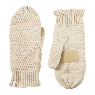 Women's Marled Knit Touchscreen Mittens  Oatmeal Heather (Beige) Front and Back View