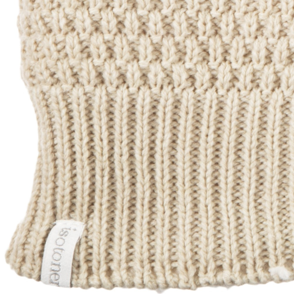 Women's Marled Knit Touchscreen Mittens Oatmeal Heather (Beige) Cuff Detail