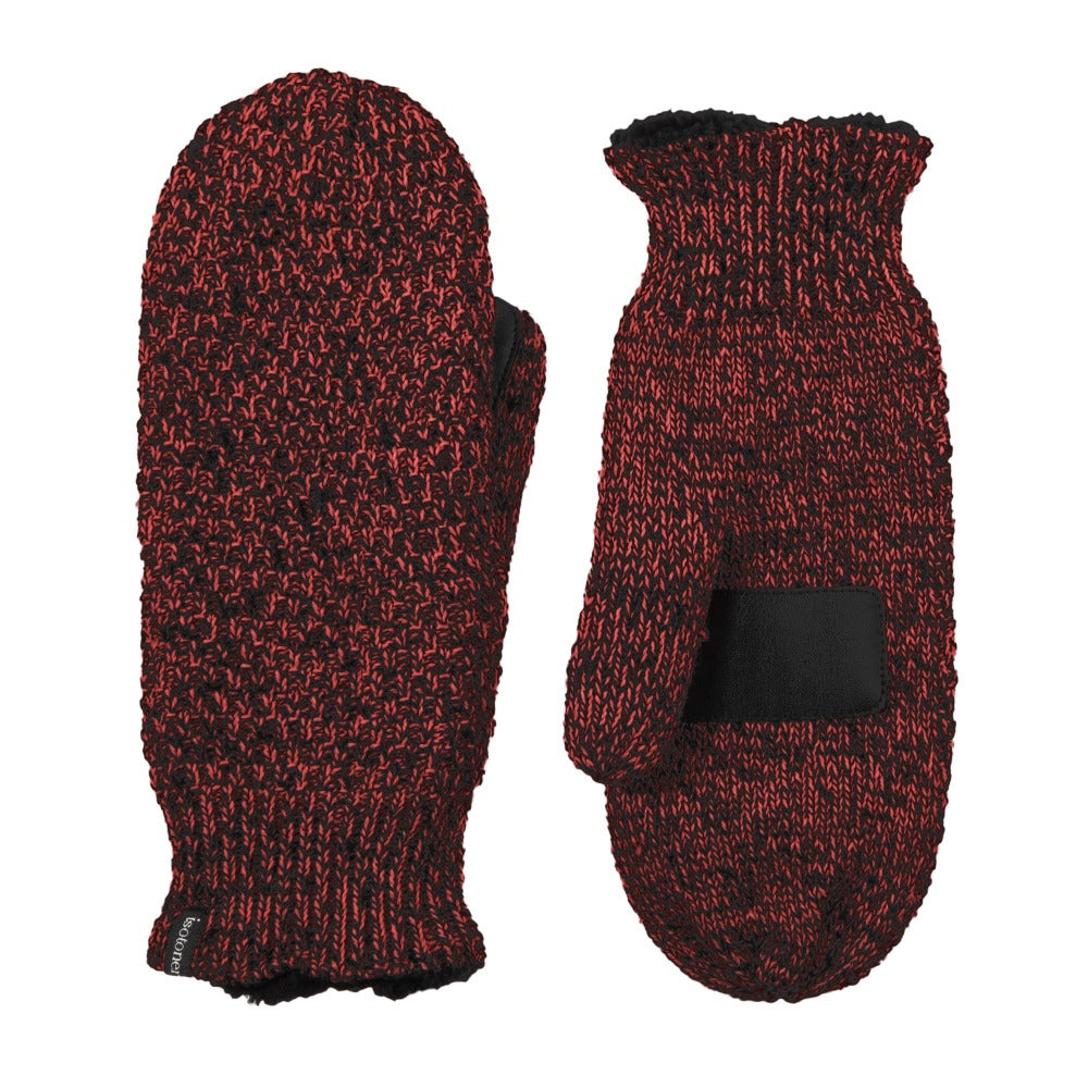 Women's Marled Knit Touchscreen Mittens in Really Red Front and Back View