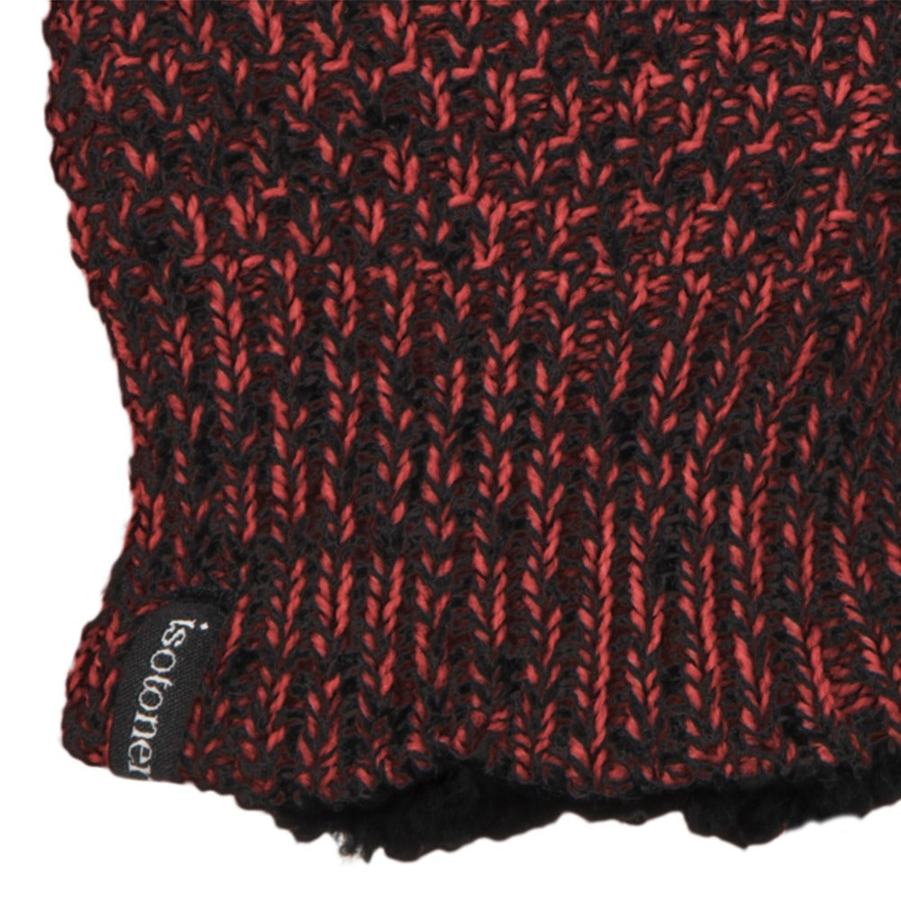 Women's Marled Knit Touchscreen Mittens in Really Red Cuff Detail