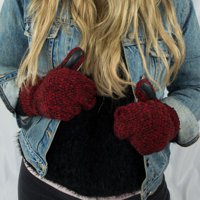 Women's Marled Knit Touchscreen Mittens in Really Red on Model