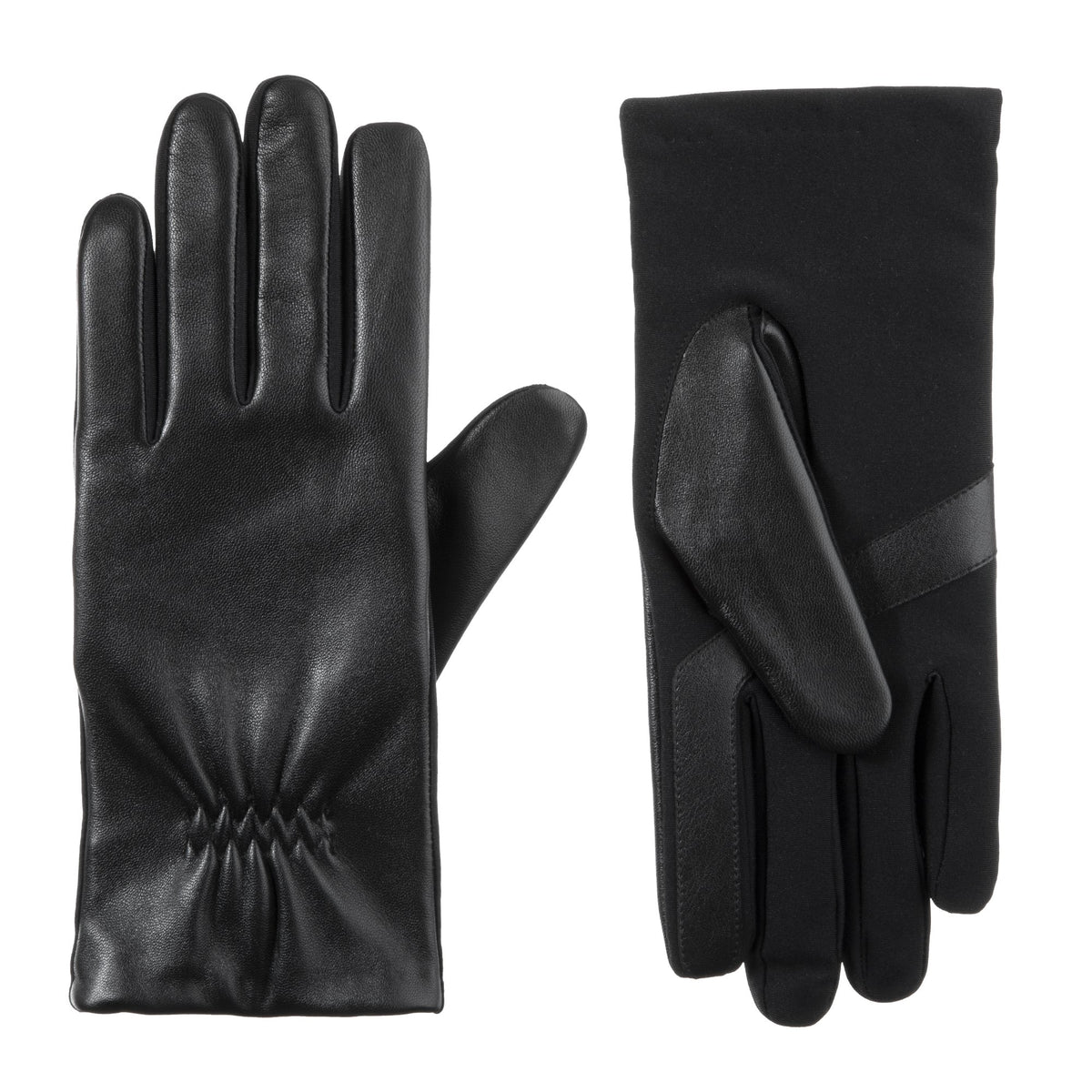 Women's Stretch Leather Touchscreen Gloves Black 1