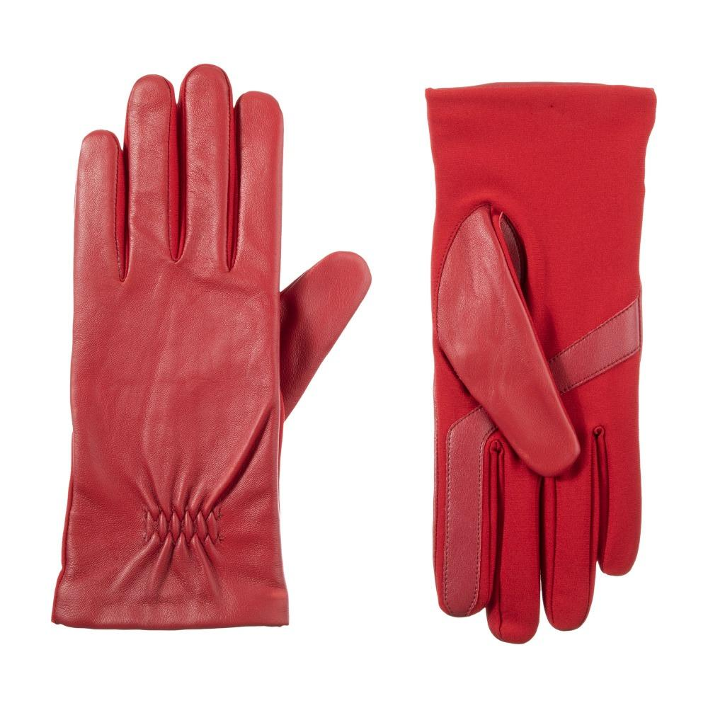 Women's Stretch Leather Touchscreen Gloves in really Red