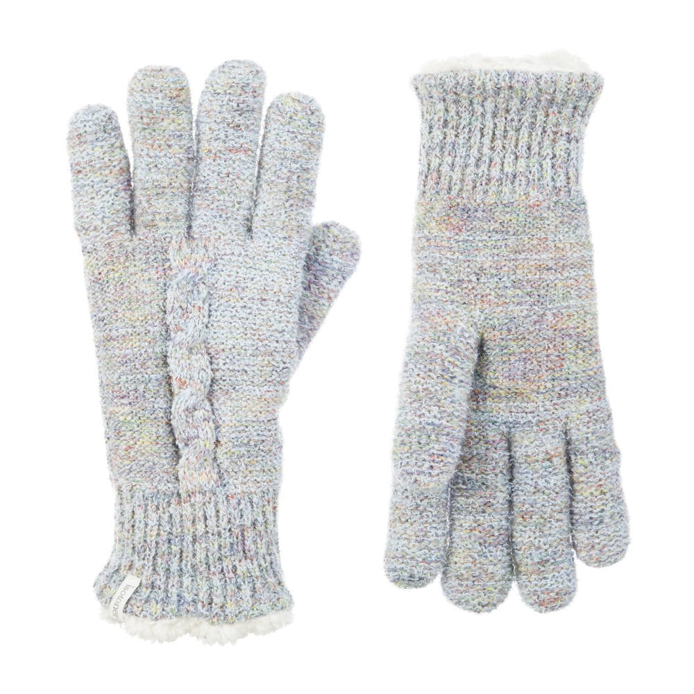 Women's Recycled RPET Acrylic Knit Gloves in Frost (Grey with Multi Colored Pattern) Front and Back View