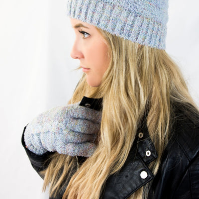 Women's Recycled RPET Acrylic Knit Gloves in Frost (Grey with Multi Colored Pattern) on Model